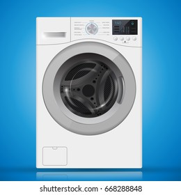 Realistic  white front loading washing machine on a  blue background. Front view, close-up. 3d realistic vector washer. closed door