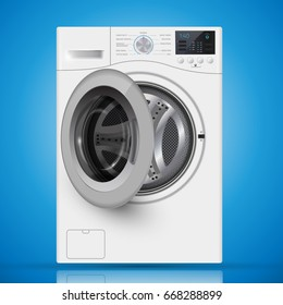Realistic white front loading washing machine on a  blue background. Front view, close-up. 3d realistic vector washer. opened door