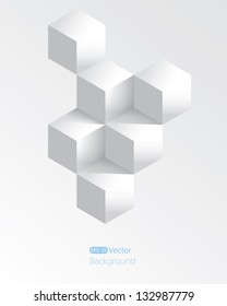 Realistic white geometrical background with cubes