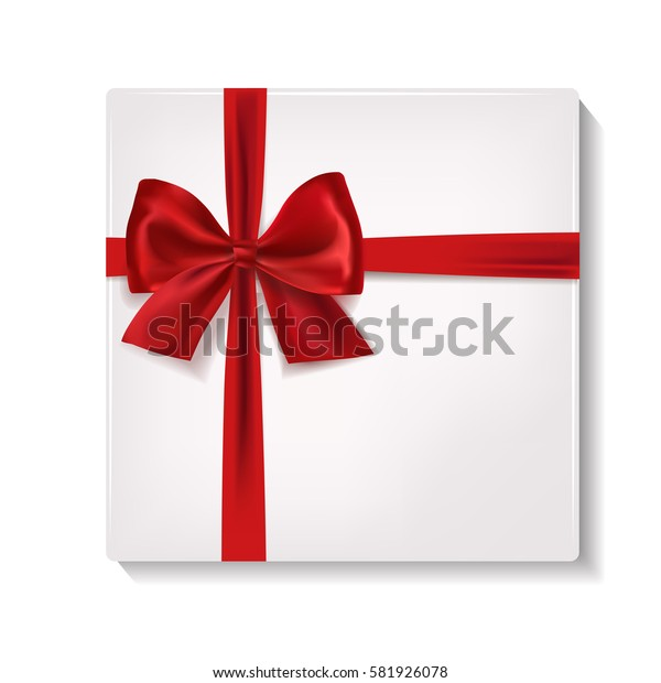 Realistic white gift box with red satin ribbon and bow.