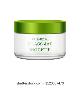 Realistic white glass jar with green plastic lid for cosmetics - body cream, butter, scrub, gel, skin care, powder. Premium product. Package template. Vector mock up