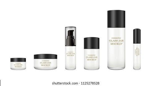 Realistic white glass jar with plastic lid for cosmetics - body cream, butter, scrub, foundation cream, gel, skin care, powder. Premium product. Package template. Vector mock up set