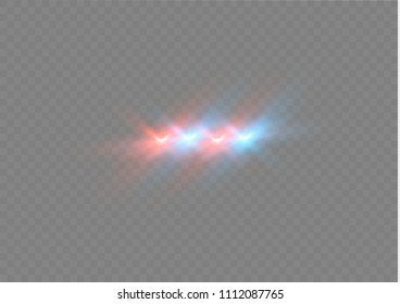Realistic white glow round beams of police car headlights, isolated against a background of transparent gloom. Light flash of light .Vector illustration.