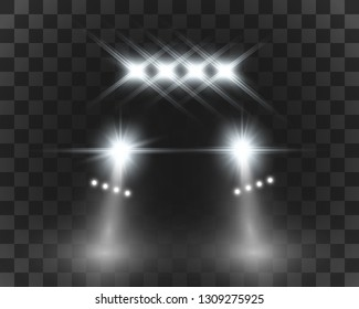 Realistic white glow round beams of car headlights, isolated on transparent background. Police car. Light from headlights. Police patrol.