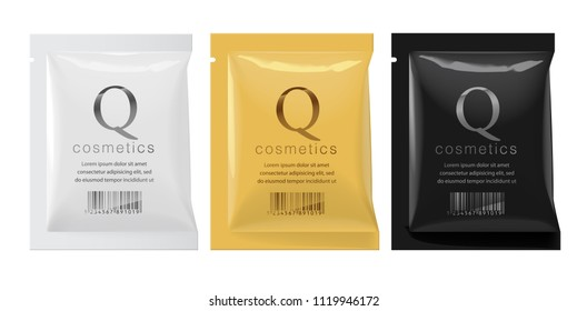 Realistic White, Gold and Black color Blank template Packaging Foil wet wipes Pouch Medicine or for cosmetics. vector illustration.