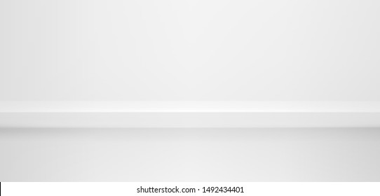 Realistic white and grey studio wall, minimal 3d shelf. Colorful floor, horizontal realistic empty white and grey shelf in vector background.