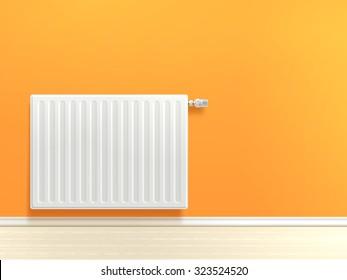 Realistic white heating radiator on orange room wall vector illustration