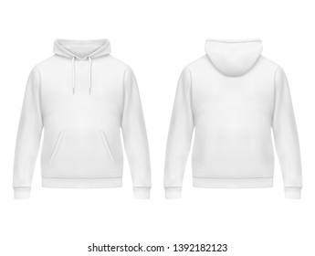 Realistic white hoodie or hoody for man. Men sweatshirt with long sleeves and drawstring, muff or kangaroo pocket. Mockup of male jacket or sweater with hood. Front and back of sport or urban uniform
