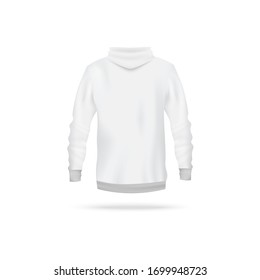 Realistic white hoodie mockup from back view - men's long sleeve sweater with hood isolated on white background. Sport apparel design template - vector illustration.