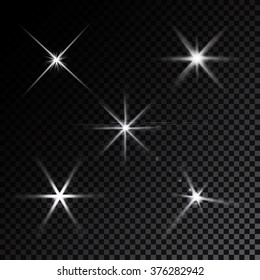 Realistic white lens flares star lights and glow  elements  black background vector illustration