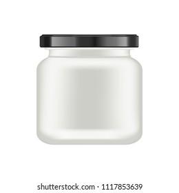 Realistic white matt glass matt jar with black lid for cosmetics - body cream, oil, scrub, gel, powder. Realistic packaging mockup template. Medical container. Vector illustrations.