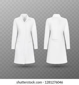 Realistic white medical female lab coat, hospital professional suit vector template isolated. Vector illustration.