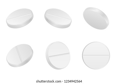 Realistic white medical pills isolated on white background. Vector