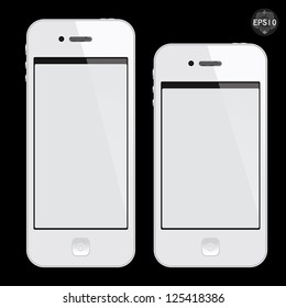 Realistic white mobile phone with blank screen isolated on black, Vector