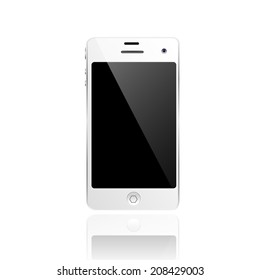 realistic white mobile phone with blank screen isolated on white, vector