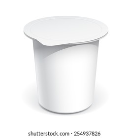 Realistic White Mock up blank plastic container for yogurt, jams and other products.