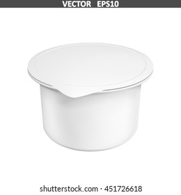 Realistic white mock up blank plastic container for yogurt. Illustration isolated on white background. Graphic concept for your design