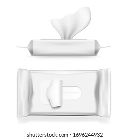 Realistic White Napkin Pack. Antibacterial Wet Wipes Or Hygiene Paper Hand Napkin Sanitary Packaging. EPS10 Vector