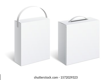 Realistic White Package Box with handle. For Software, electronic device and other products. Vector illustration.