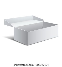 Realistic White Package Box. For shoes, Software, electronic device and other products. Vector illustration.
