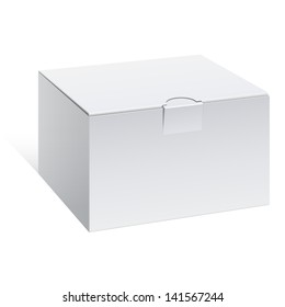 Realistic White Package Box. For Software, electronic device and other products. Vector illustration.
