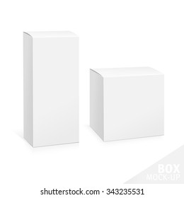 Realistic White Package Box. Template for your design. You can use that packing for  Software, Cosmetics, Electronic Device and Other Products. Vector illustration.