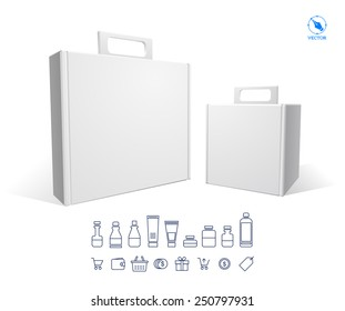 Realistic white Package Cardboard Box Opened. For Software, electronic device and other products. Vector illustration