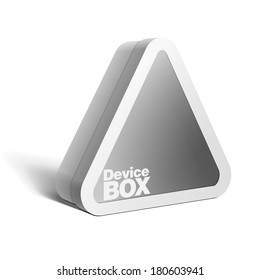 Realistic White Package triangular shape Box. For Software, electronic device and other products. Vector illustration.