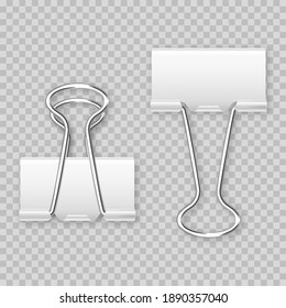 Realistic white paper binder isolated on transparent background. Paper clip, holder. Design mockup. Vector illustration.