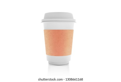Realistic White Paper coffee Cup. Cafe Latte, Cappuccino Cup. Craft Paper Lable Coffee Mock Up Isolated on wihite background