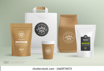 Realistic White paper package design mockup set and concept of Coffee Logo for brand identity. Craft Zip package and hot drink cups Isolated vector illustration. All objects on separate layers