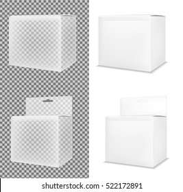 Realistic white paper or plastic packaging box with hanging hole