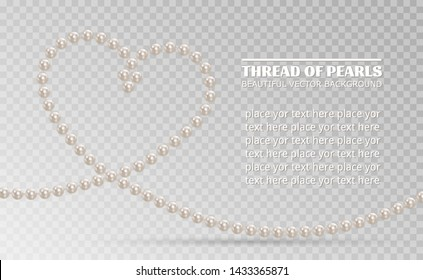 Realistic white pearls isolated on background. Shiny oyster pearls for luxury accessories. Pearl necklace thread of pearls. Beautiful natural heart shaped jewelry. Chains of pearls forming an ornament