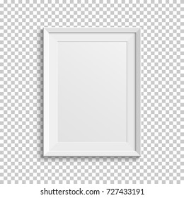 Realistic white picture frame isolated on transparent background. Vector illustration.