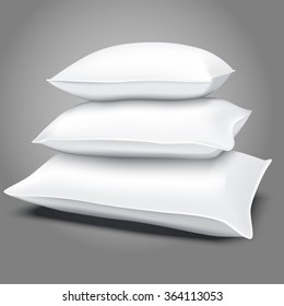 Realistic white pillows, vector