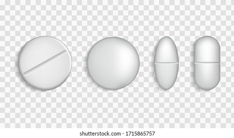 Realistic white pills. 3D drugs medicine capsules and vitamins. Medical pills. Packed plate of pills. Health pills. Medicine