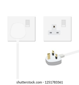 Realistic white plug inserted in electrical outlet, power socket and uk plug. Isolated on white background. Icon of device for connecting electrical appliances, equipment. Electric plug and socket.