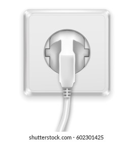 Realistic White Plug and Plastic Power Socket Europe Type Electric. Vector illustration