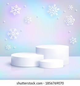 Realistic white podium on iridescent background with snowflakes. Winter christmas pastel scene with blank cylinder pedestal for product show. Luxury platform vector mockup