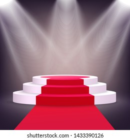 Realistic white podium stage with red carpet lit from multiple spotlights, three-step round stairs with circle shape for awarding competition winner, luxury 3D design - vector illustration