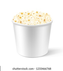 Realistic white pop corn bucket. Vector illustration isolated on white background. Can be use for your design, presentation, promo, adv. EPS10.