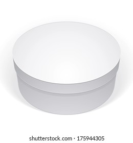 Realistic white round package box for products, put your design over the pack in multiply mode, isolated on white background, vector illustration eps 8.