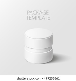 Realistic white round package box for products, isolated on white background, vector illustration. EPS 10