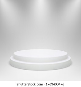 Realistic white round podium in studio lighting. 3d pedestal or platform for product showcase on a gray background. Vector illustration.