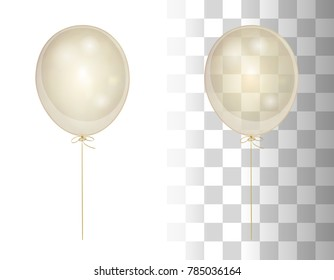 Realistic white shine transparent balloon isolated in the air. Frosted party balloons for event design. Party decorations for holiday, birthday, anniversary, celebration. Vector illustration