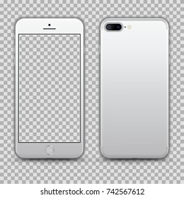 Realistic White/ Silver Smartphone isolated on Transparent Background. Front and Back View For Print, Web, Application. High Detailed. Device Mockup Separate Groups and Layers. Easily Editable Vector.