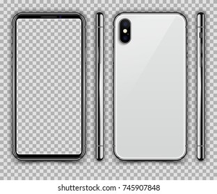 Realistic White Slim Smartphone isolated on Transparent Background. New Version. Front, Side and Back View Display. High Detail Device Mockup Separate Groups and Layers. Easily Editable Vector EPS 10.