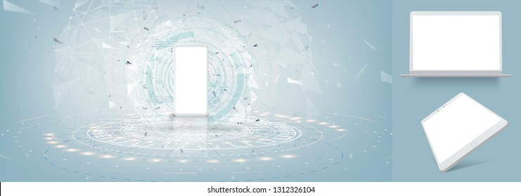 Realistic white smartphone mockup with futuristic technology concept, mobile phone and laptop or tablet abstract background, vector