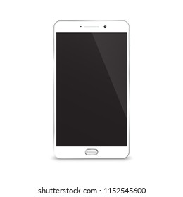 Realistic white smartphone mockup isolated on white background vector illustration for web element and mobile applications