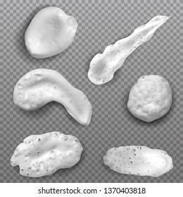 Realistic white smears foam, gel or cream isolated on transparent background. Set of vector objects different forms.